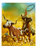 Cowboy Lassoing Cattle Giclee Print by  Mcbride