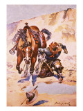 Cowboy Pursued by Indians. Giclee Print by Stanley L. Wood
