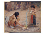 The Campfire Premium Giclee Print by Eanger Irving Couse