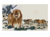 Barbary Lions Giclee Print by Maurice Wilson