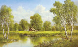 Cottage at the Lake Prints by Helmut Glassl