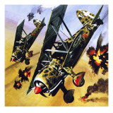Two Fiat Cr 42S Giclee Print by Wilf Hardy
