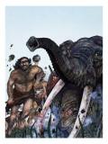 Stone Age Hunters Giclee Print by Richard Hook