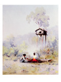 Campfire Premium Giclee Print by Sidney Laurence