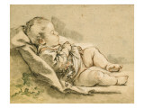 A Sleeping Baby Giclee Print by Francois Boucher