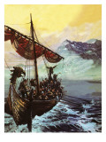 Viking Ship Giclee Print by  English School