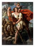 Saint Christopher Giclée-tryk af Orazio Borgianni