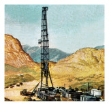 Oil Drilling Rig Giclee Print by  English School
