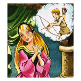 Girl with Cupid Giclee Print by  English School