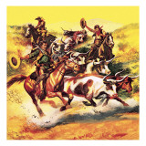 Cowboys Giclee Print by English School