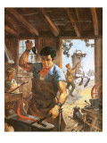 Blacksmith at Work Giclee Print by Barrie Linklater
