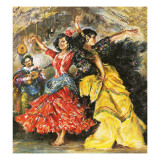 Flamenco Dancers Giclee Print by  English School
