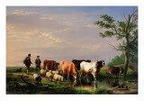 Auf dem Heimweg Gicl&#233;e-Druck von Eugene Joseph Verboeckhoven