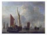 Naval Battle Giclee Print by Willem Van De, The Younger Velde
