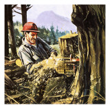Lumberjack Reproduction procédé giclée par Gerry Wood