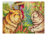 Cats in a Garden Giclee Print by Louis Wain