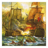 Naval Battle Giclee Print by  English School
