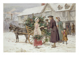 The Holly Cart Premium Giclee Print by George Goodwin Kilburne