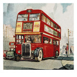 London Bus Giclee Print by  English School
