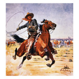 Cowboy with Lassoo Giclee Print by Stanley L. Wood