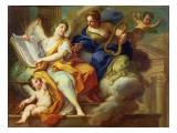 Urania and Erato Giclée-tryk af Sebastiano Conca