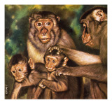Monkey Family Giclee Print by David Nockels