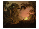 Cottage on Fire Giclee Print by Joseph Wright of Derby