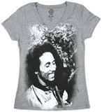 Juniors: Bob Marley - Smile Burnout V-Neck T-Shirt
