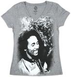 Women's: Bob Marley - Smile Burnout V-Neck Camisetas gola V femininas