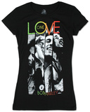 Juniors: Bob Marley - One Love Stripes T-Shirt