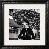 Checked Parasol, New Trend in Women's Accessories, Used at Roosevelt Raceway Framed Photographic Print by Nina Leen