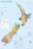 Kaart Nieuw-Zeeland Poster