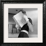 Model Jean Patchett Modeling Cheap White Touches That Set Off Expensive Black Dress Framed Photographic Print by Nina Leen