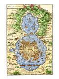 Tenochtitlan, Capital City of Aztec Mexico, an Island Connected by Causeways to Land, c.1520, Giclee Print