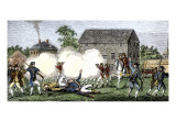 British Troops Firing on Americans at Lexington, First Battle of American Revolution, c.1775 Giclee Print