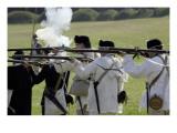 Continental Army Reenactors Firing Their Muskets at Yorktown Battlefield, Virginia Giclee Print
