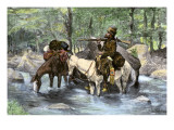 White Trapper Crossing a Mountain Stream Giclee Print