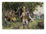 Hermann Blowing His Horn, Calling the Cherusci to Battle Against the Romans in Ancient Germany Giclee Print