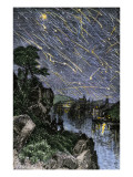 Remarkable Meteor Shower over the Mississippi River, 1833, Poster