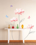 Sketched Stems and Vibrant Flowers Wall Decal