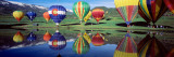 Reflection of Hot Air Balloons on Water, Colorado, USA Wall Decal by Panoramic Images