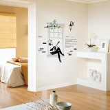 Audrey Windowsill Guitar Song Serenade Wall Decal