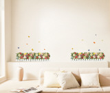 White Picketed Flower Garden Wall Decal