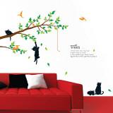 Poème avec arbre et chats Autocollant mural