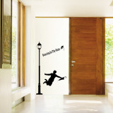 Dancing in the Rain Silhouette Lamp Post Wall Decal