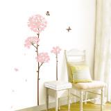 Langstielige rosa Blumen und Schmetterlinge Wandtattoo