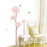 Long Stem Pink Flower Butterfly Petals Muursticker