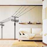Pali elettrici e uccelli (sticker murale) Decalcomania da muro
