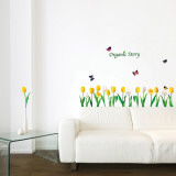 Tulips and Butterflies Organic Story Vinilos decorativos