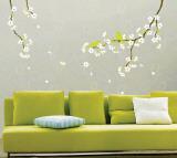 Flores de primavera e pássaros Decalque em parede